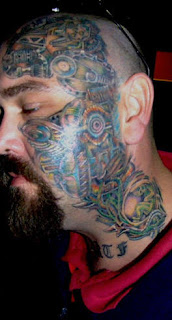Full color Biomech Face Tattoo Design