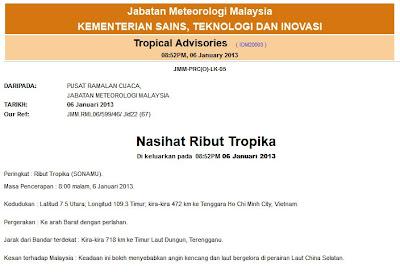 Berjaga-Jaga Jangkaan Ribut Tropika Sonamu di Kuala Terengganu