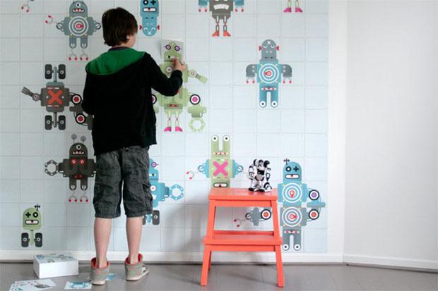IXXI,Decorancion, paredes, wall,art,synaps,cuadrados,cuadros,squares,tile,robot,nilños,kids