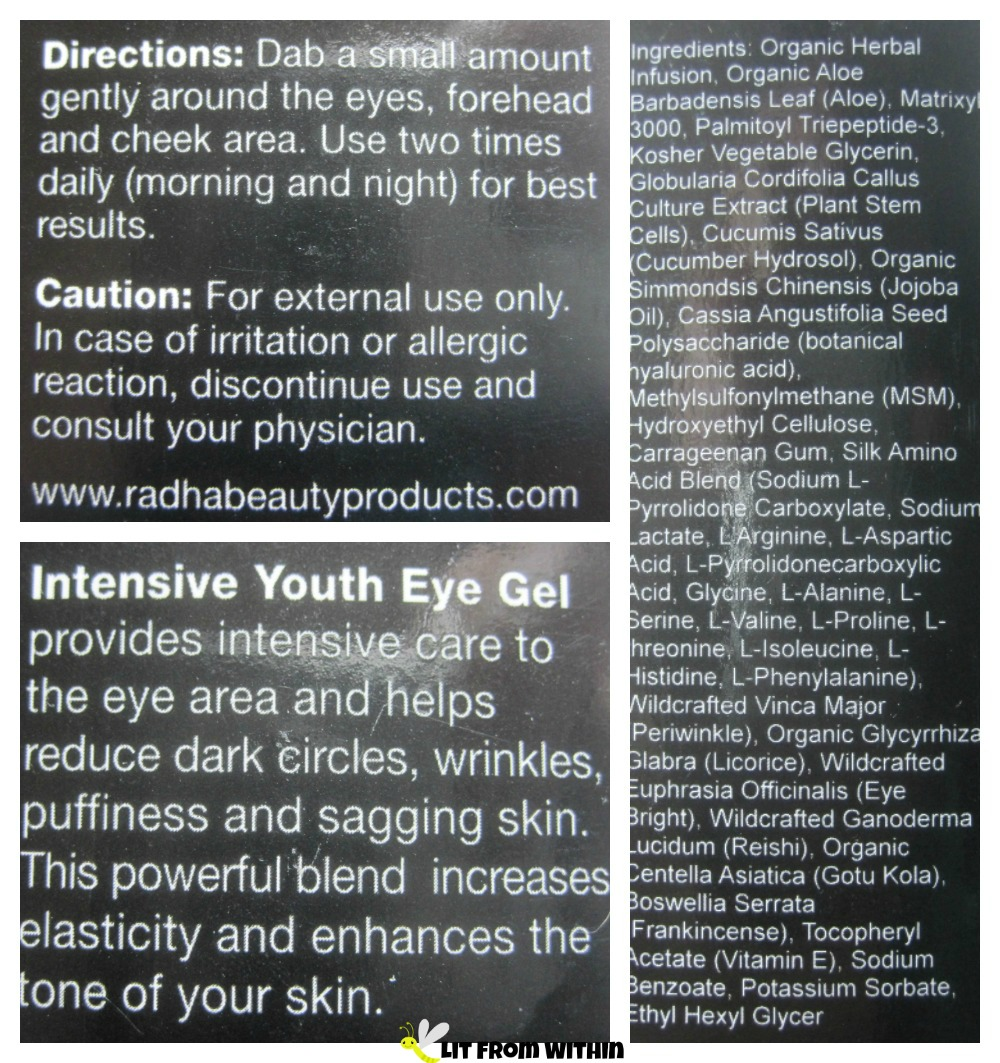 Radha Beauty eye gel instructions and ingredients