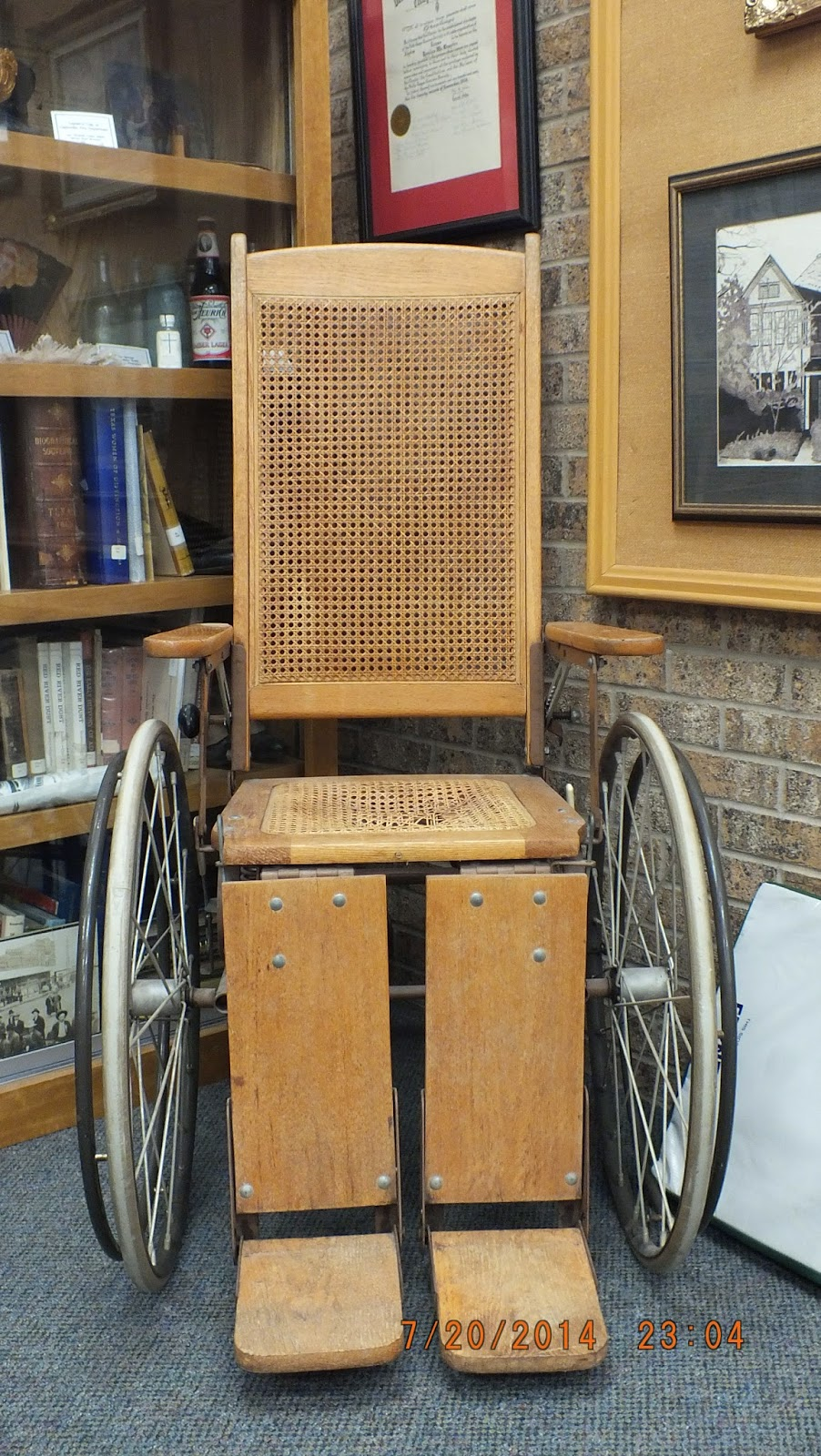 This antique wheelchair was part of the original equipment for the Red  River County Hospital on Baker's Street in 1937, and is now permanently on  display at ... - Red River County Public Library: Antique Wheelchair Has A New Home