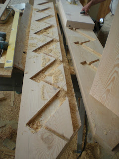 Douglas fir timber stairs fully mortised treads  http://huismanconcepts.com/