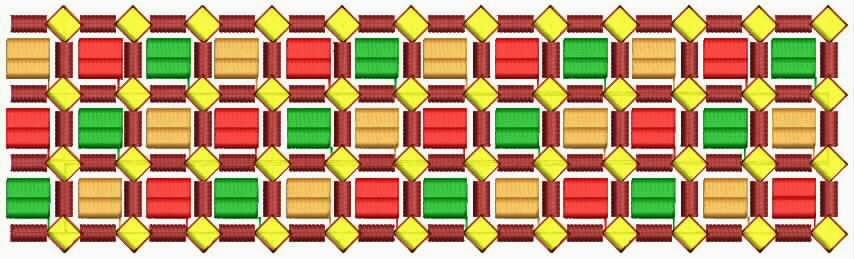 kleurvolle Checkers borduurwerk kant grens