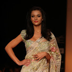 Amy Jackson Looks Gorgeous On Ramp In Saree At The Lakme Fashion Week 2013