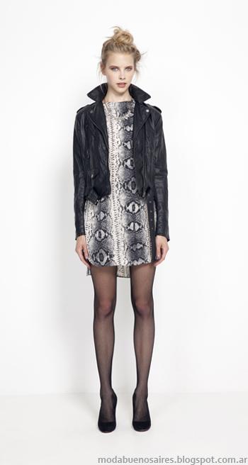 Vestidos cortos y camperas de cuero otoño invierno 2014.