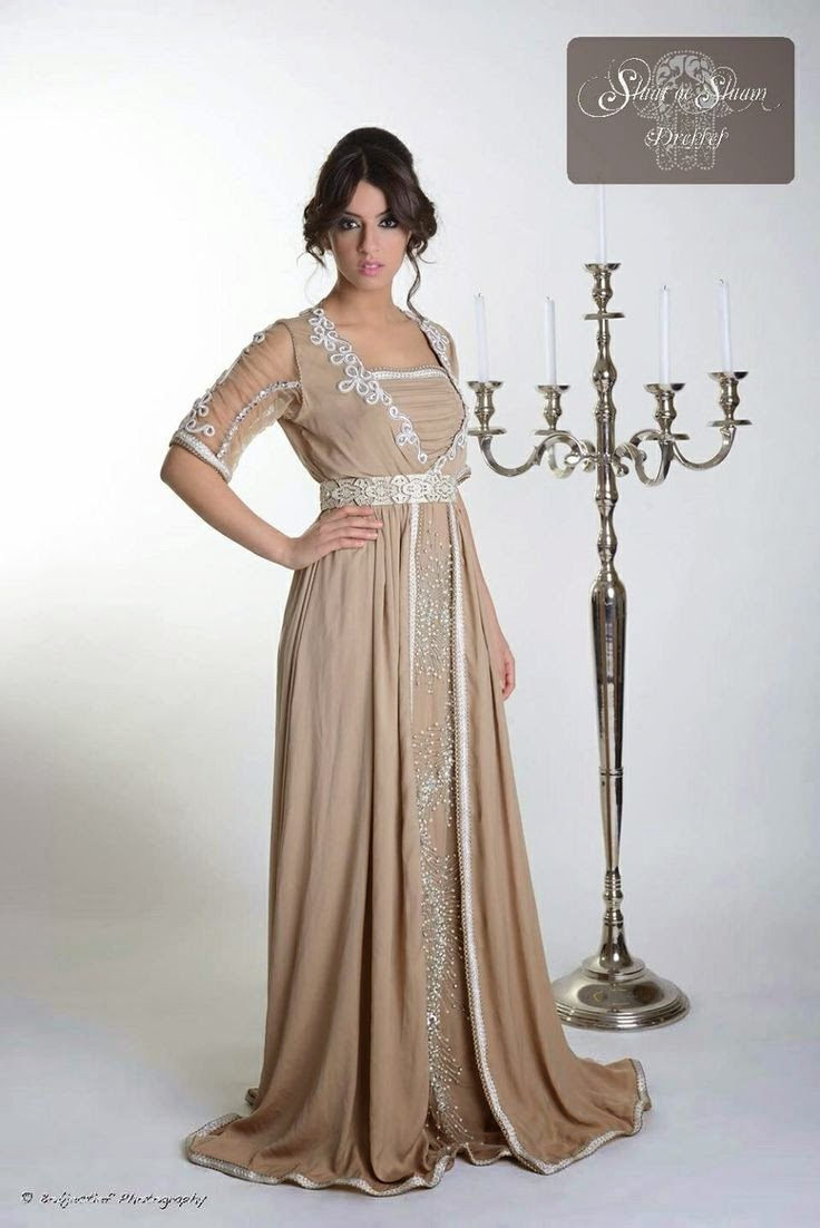 Caftan beige caftan haute couture du maroc en france 2015 for Couture france
