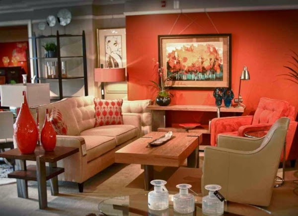 Salas decoradas en naranja colores en casa for Colores de sala