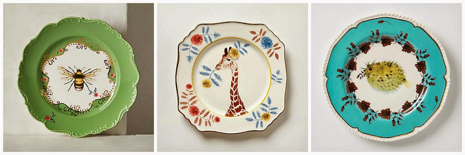 bee plate, giraffe plate, animal bone china,