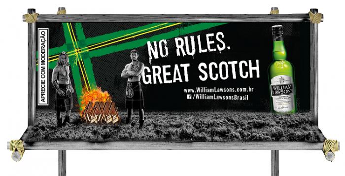 Os cavaleiros vestidos de escoceses fazem parte de uma ação de live marketing que iniciou em julho