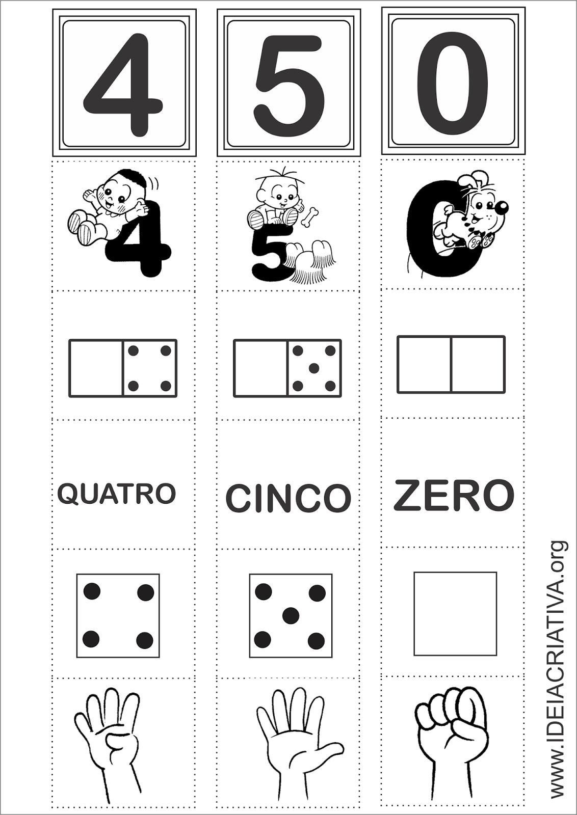 Sala de Recursos Flash Cards Numerais Turma da Mônica zero a zinco