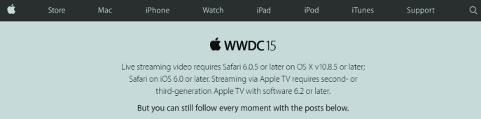Apple WWDC15 message  at apple.com