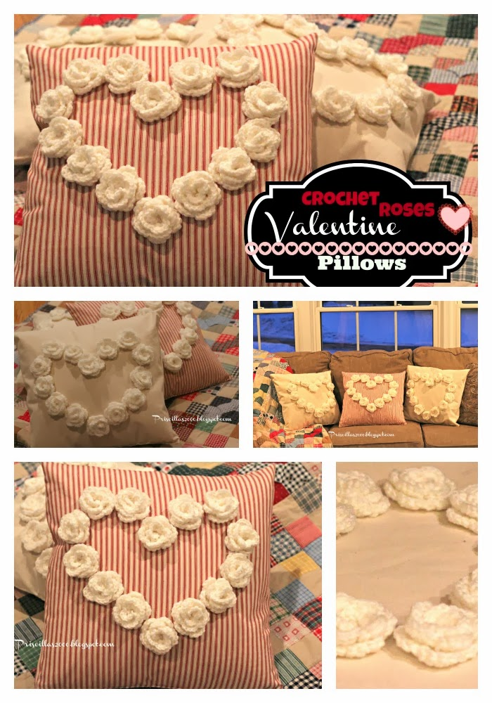 Priscillas The Cutest Crocheted Rose Valentines Pillows