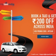 Mytaxiindia : Flat Rs 200 OFF on All Your Taxi Booking : Buytoearn