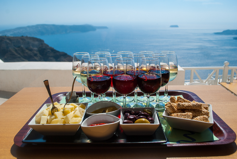 12 wine and cheese platter in santo wines santorini