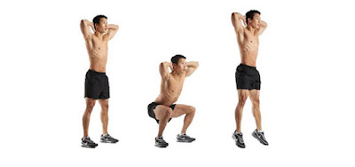 Movement is jump squats toning the thighs and calf muscles.