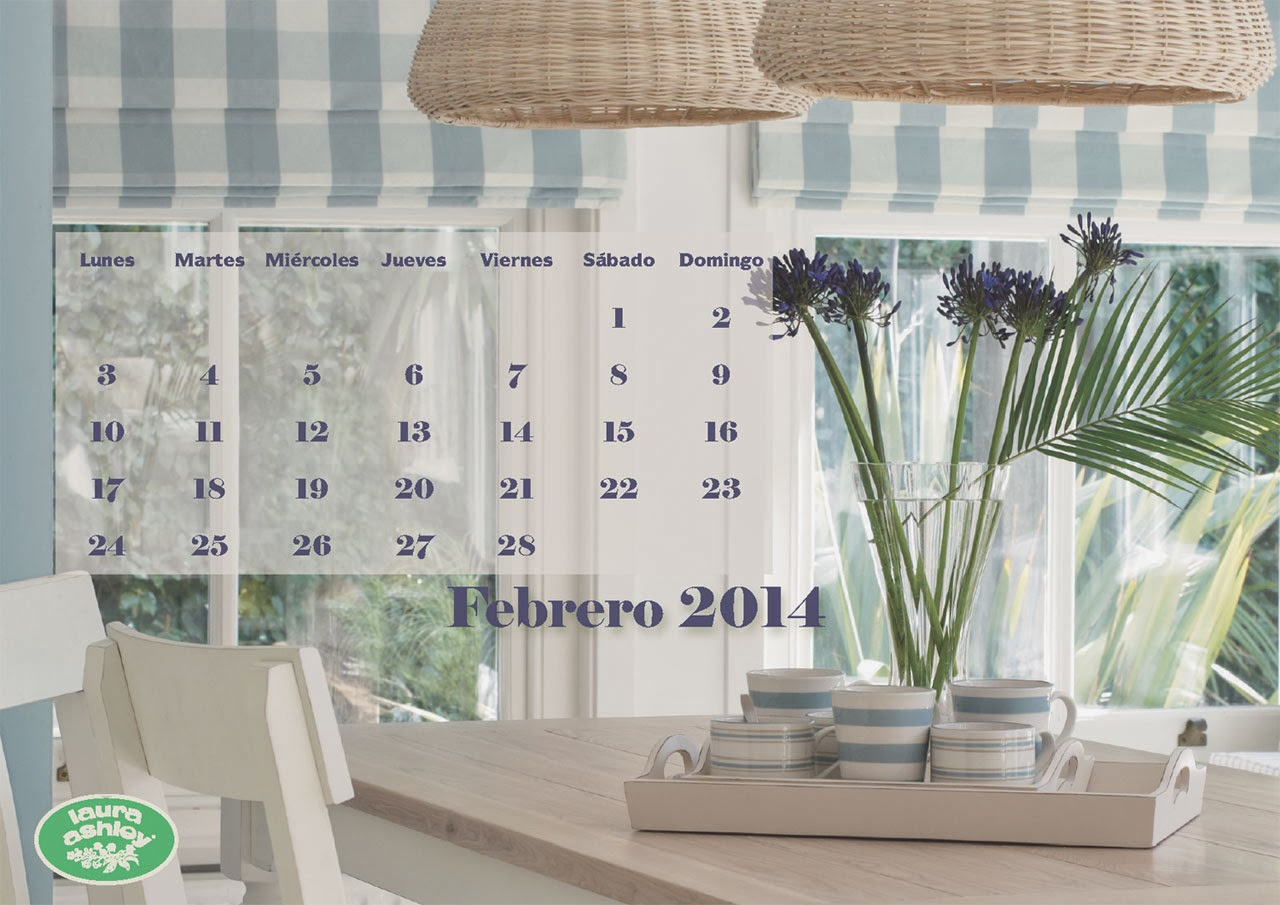 Calendario Febrero 2014 Laura Ashley, Coastal azul mar
