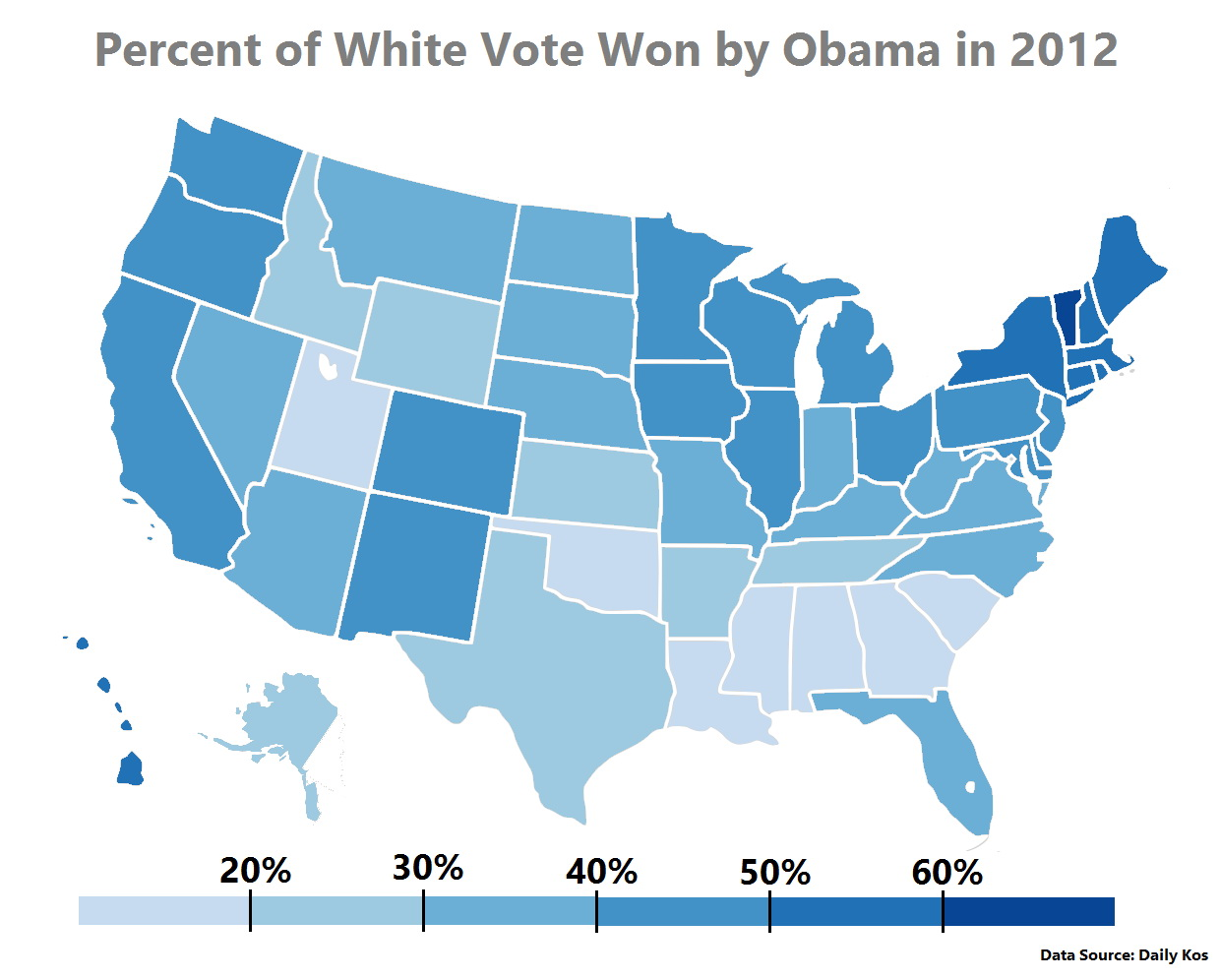 Percent of white vote won by Obama in 2012