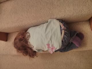 asleep on stairs