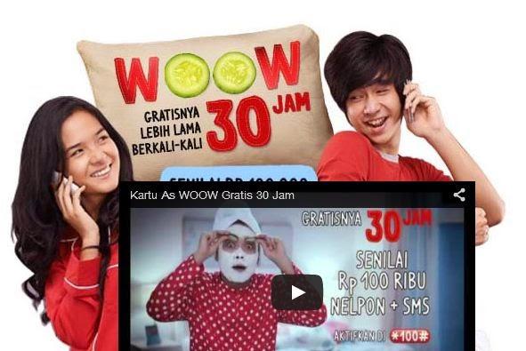 Paket Woow 30 Jam Kartu As, Nelpon, tarif paket woow 30 jam kartu as, cara daftar paket paket Woow 30 Jam kartu As