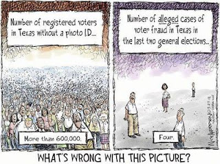 Houston Chronicle cartoon on the bogus problem of voter fraud