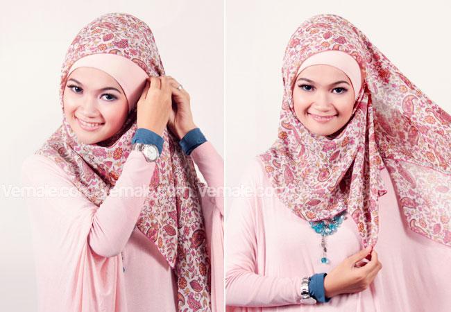 Cara Memakai Jilbab Segi Empat Modern (Kreasi Ala Butik)