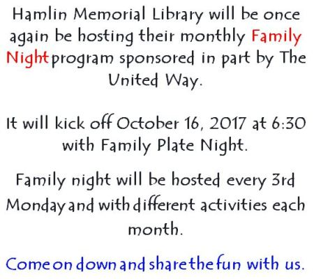"10-16 Hamlin Memorial Library ""Family Night"""