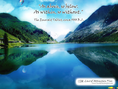 Free Law of Attraction Wallpaper with a Quote by The Esmerald Tablet