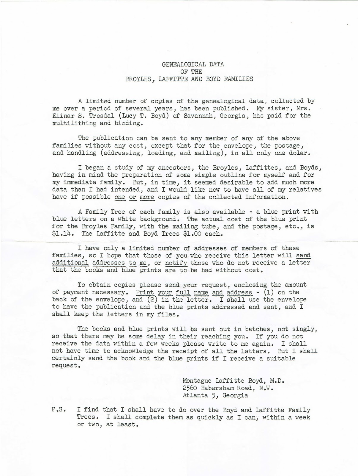 Letter concerning 1959 publication of a book on the Broyles family genealogy