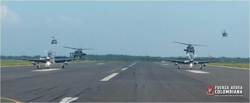 En los entrenamientos efectuados por la Fuerza Aérea Colombiana como preparación para el Ejercicio Alas Púrpura participaron aviones A-29B Super Tucano, Bell 212 Rapaz, UH-1P Huey II, AH-60 Arpía y MH-60 Ángel.