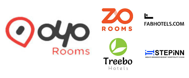 Oyo Rooms, Zo Rooms, Treebo, Fab Hotels & Step Inn logos
