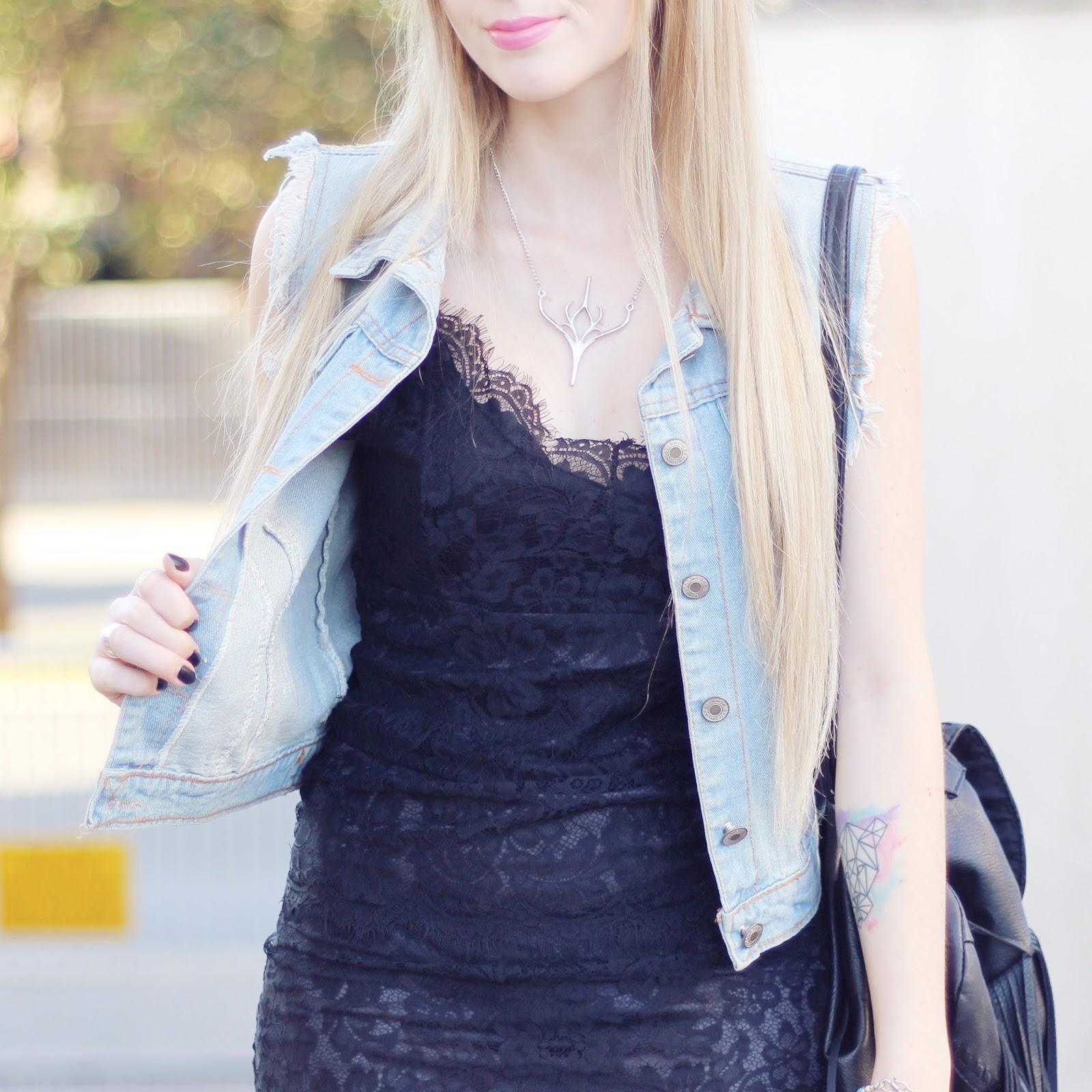 vestido de renda preto