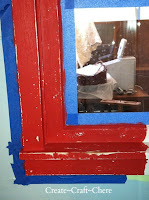 Retro kitchen makeover distressed red window
