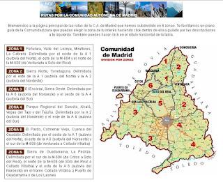 Mapa de la Comunidad de Madrid en excursionesysenderismo.com