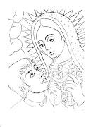 Dibujo de Virgen de Guadalupe y Juan Diego para colorear