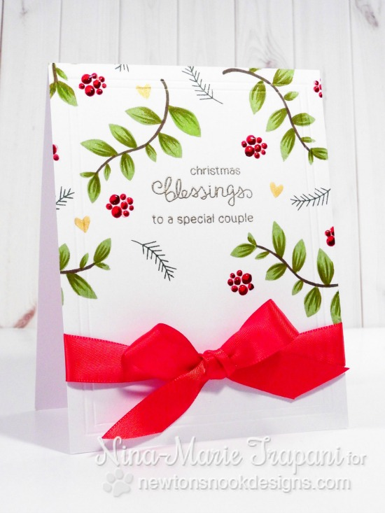Christmas Blessings Card by Nina-Marie Trapani | Falling into Autumn Stamp set by Newton's Nook Designs #newtonsnook