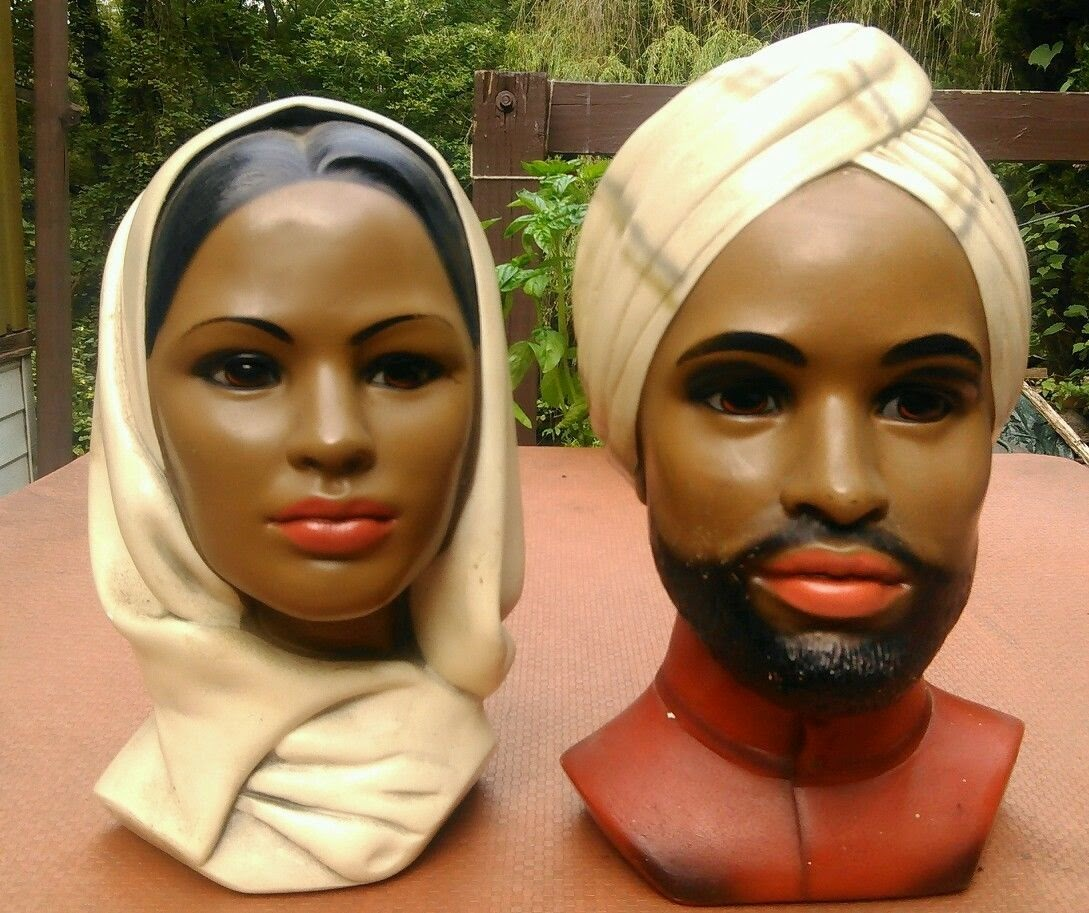 Vintage Marwal Chalkware Head Bust Middle Eastern Man and women