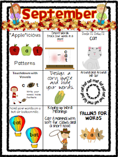 Monthly word work choice boards