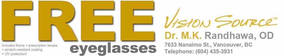 Free eyeglasses with your eye exam in  Vancouver, BC- the only everyday free glasses deal in Canada