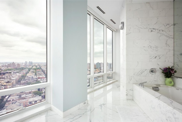 Photo of the view from the bathroom in one of the most beautiful penthouses