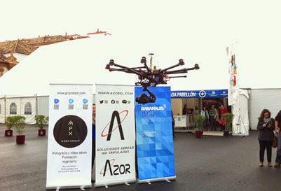 Tecnología Dron realizando un vuelo de prueba en Fimart.