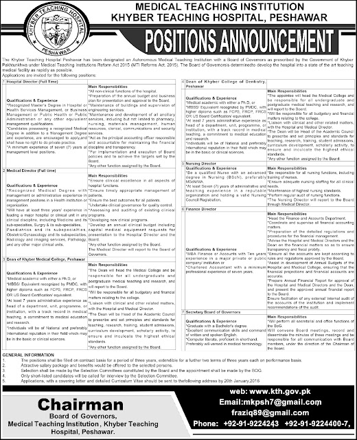 Jobs in Khyber Teaching Hospital Peshawar