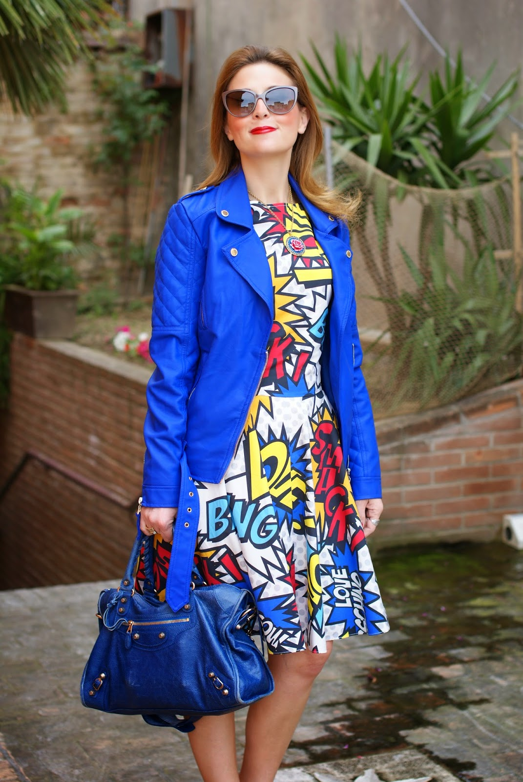 Love Moschino comics dress, Morgan jacket, Balenciaga city blue, Fashion and Cookies, fashion blogger