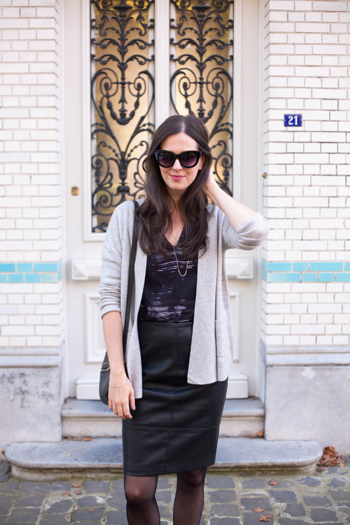outfit: creative professional in cashmere cardigan, faux leather pencilskirt