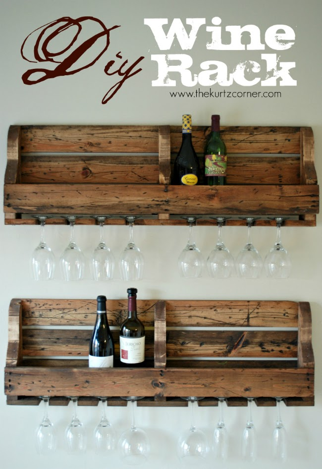 The kurtz corner diy rustic wine rack for Crate wine rack diy