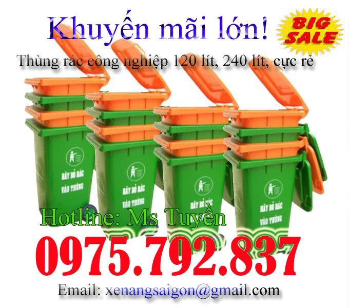 Bán Thùng rác công nghiệp 120 lít, 240 lít (xanh, cam), siêu rẻ (Lh 0975 792 837)