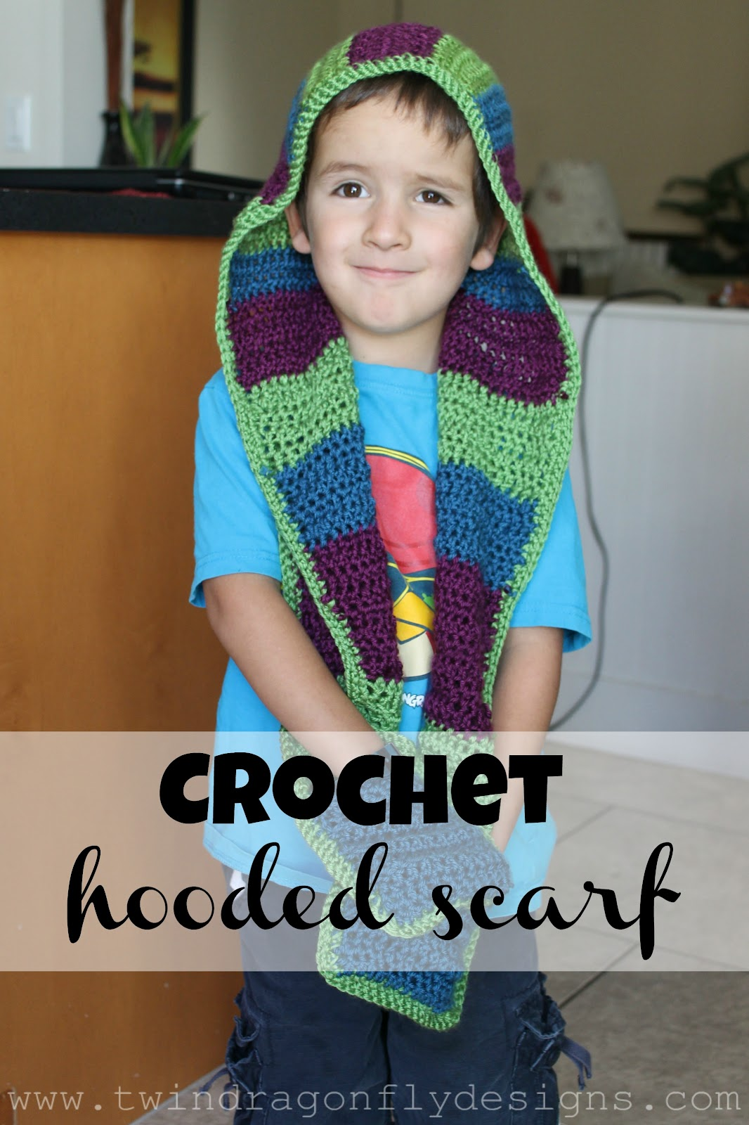 crochethoodedscarftitlejpg Crochet Childrens Scarf Crochet Childrens Scarf