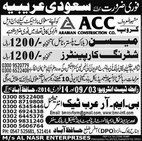 Shuttering Carpenter and Mason Jobs in Saudi Arabia
