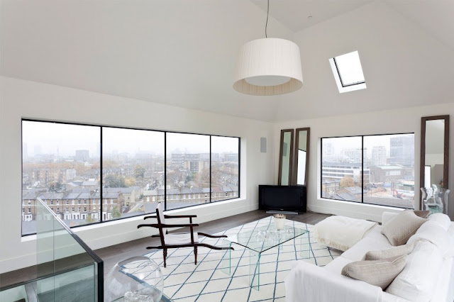 Picture of white living room on the roof of the water tower