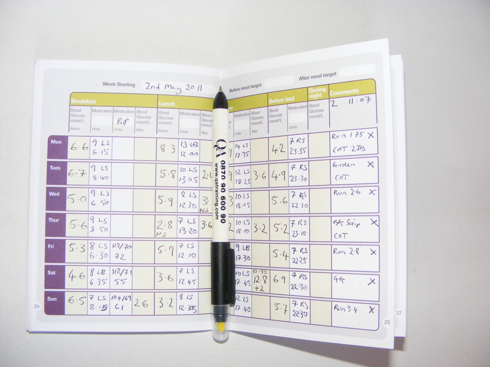 diabetes charts for recording