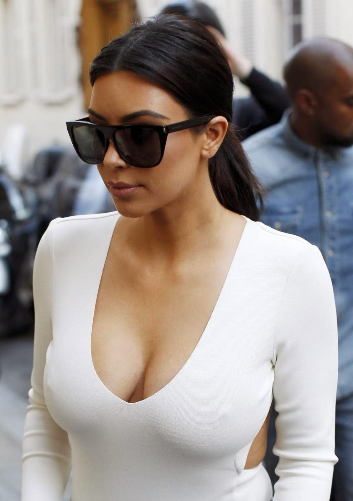 Kim Kardashian - Hot Huge Cleavage Show Photos in Paris
